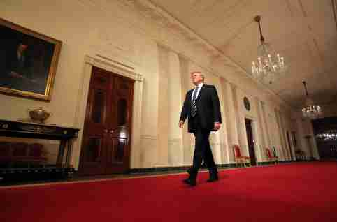 Trump walking in hallway