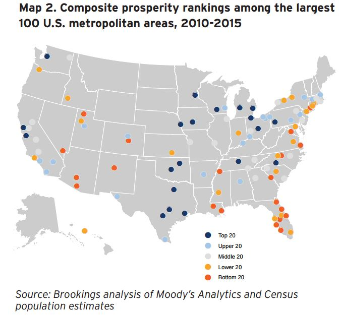Map: Composite prosperity rankings among the largest 100 U.S. metropolitan areas, 2010-2015
