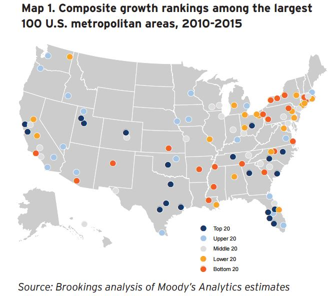 Three Maps That Show How US Metro Economies Are Doing - Cities us by growth rate map