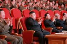 Kim Jong Un watches a performance at the People's Theatre to mark the 70th anniversary of the founding of the State Merited Chorus.