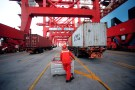 A worker is seen at the Yangshan Deep Water Port, part of the Shanghai Free Trade Zone, in Shanghai, China September 24, 2016. Picture taken September 24, 2016. REUTERS/Aly Song - RTSS0CT