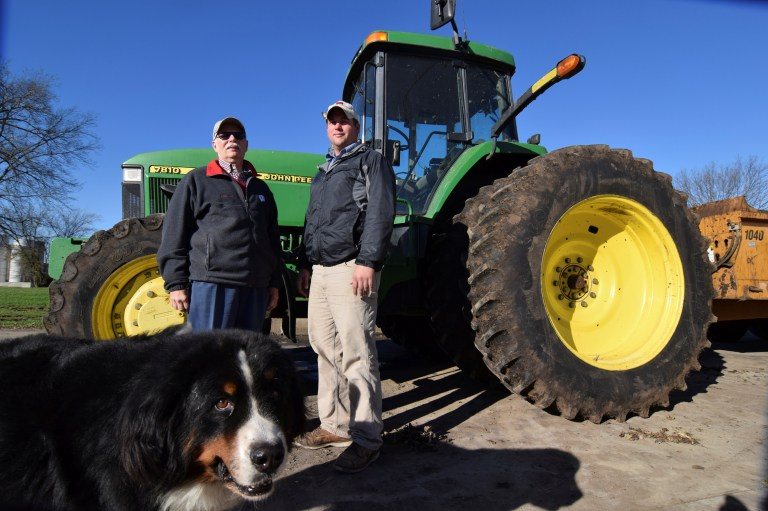 Farmers John Lader (L) and Austin Arndt are pictured on Arndt's property just outside Janeseville, Wisconsin, U.S. November 10, 2016. Like many other rural Americans they voted for Donald Trump, in their case because of specific promises the Republican president-elect made to create jobs, cut taxes and repeal Obamacare. Picture taken on November 10, 2016. REUTERS/Nick Carey - RTSXPQ4