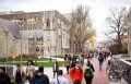 Students walk through the campus of Temple University, which has an enrollment of more than a 38,000 and offers 464 academic degree programs, in Philadelphia, Pennsylvania, U.S.
