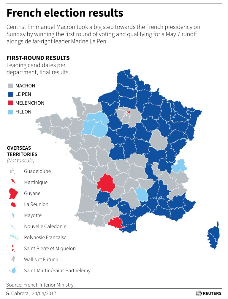 Map showing election results for round 1 of French presidential election.