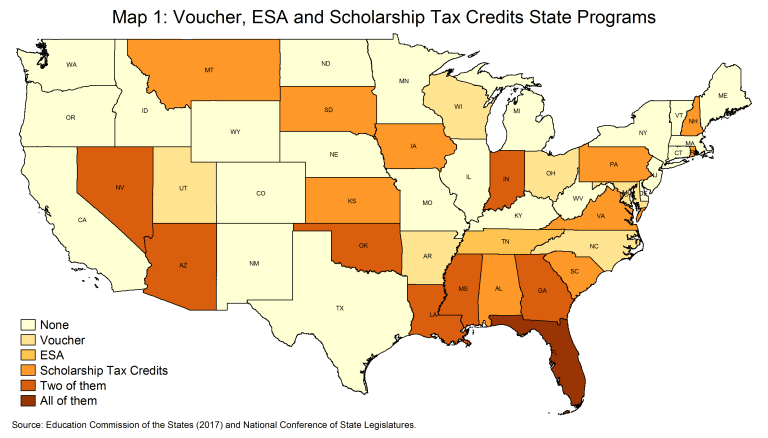 Voucher, ESA, and scholarship tax credits state programs