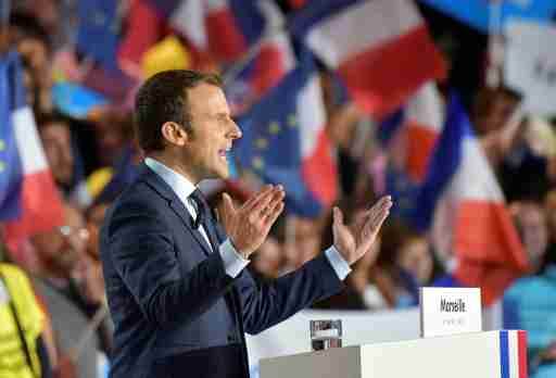Macron, head of the political movement En Marche !, or Onwards !, and candidate for the 2017 French presidential election, attends a campaign rally in Marseille