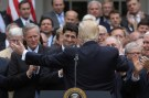 U.S. President Donald Trump (C) turns to House Speaker Paul Ryan (3rdL) as he gathers with Congressional Republicans in the Rose Garden of the White House after the House of Representatives approved the American Healthcare Act, to repeal major parts of Obamacare and replace it with the Republican healthcare plan
