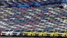 Newly manufactured cars of the automobile maker Honda await export at port in Yokohama, south of Tokyo June 23, 2015. Japanese manufacturing activity contracted slightly in June as new orders fell and output growth slowed in a sign the economy may have lost some momentum. REUTERS/Toru Hanai - RTX1HO9G