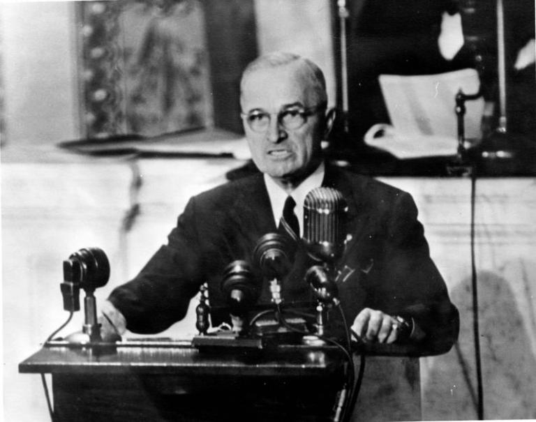 President Harry S. Truman addressing a joint session of Congress.