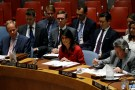 U.S. Ambassador Nikki Haley addresses the U.N. Security Council as it meets to discuss the recent ballistic missile launch by North Korea.