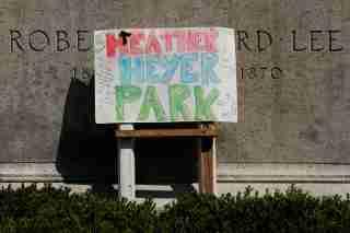 A sign honoring Heather Heyer in Charlottesville, VA