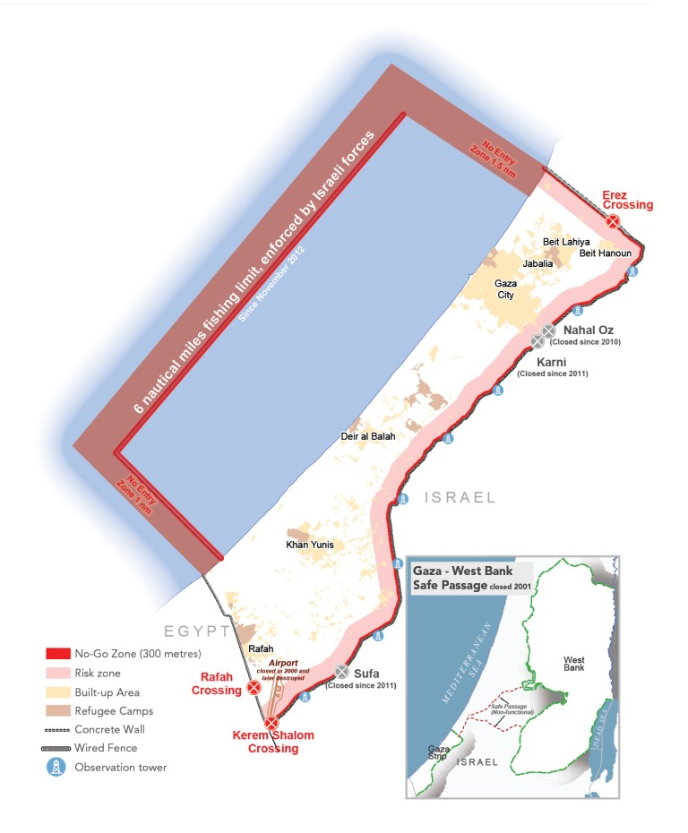 map of Gaza with crossing points