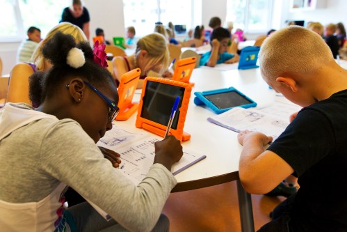 Students take notes from their iPads at the Steve Jobs school in Sneek