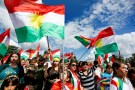 People attend a demonstration in support of the referendum for independence of Kurdish Iraq in front of the Palais des Nations in Geneva, Switzerland September 10, 2017.