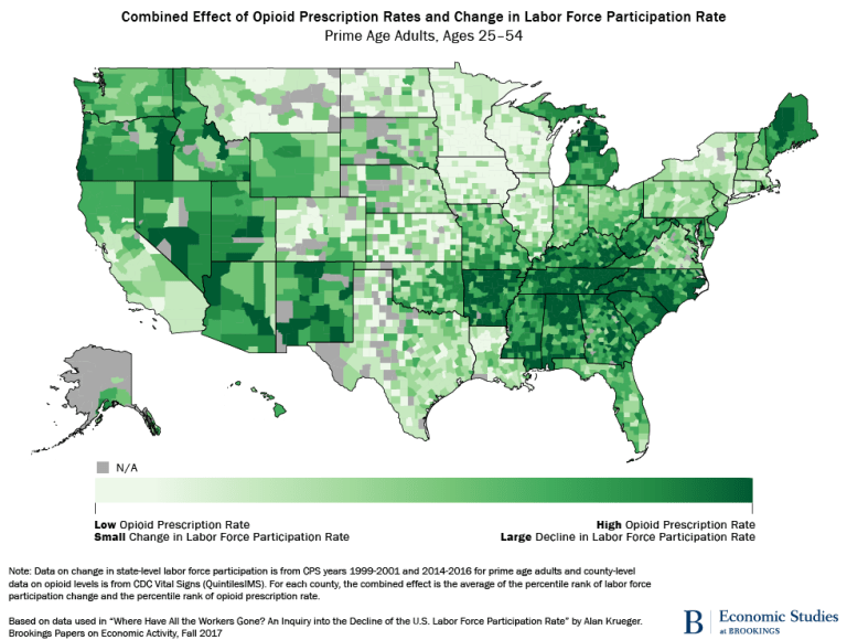 Map: Combined effect of opioid prescription rates and change in labor force participation rate, prime age adults, ages 25-54