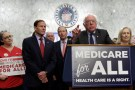 "Senator Bernie Sanders (I-VT) speaks during an event to introduce the ""Medicare for All Act of 2017"" on Capitol Hill in Washington, U.S., September 13, 2017. REUTERS/Yuri Gripas"