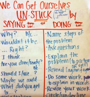 A list of language prompts students might use (for self-talk or talking with a partner) along with the strategy.
