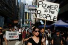 Pro-democracy activists take part in a protest on China's National Day in Hong Kong