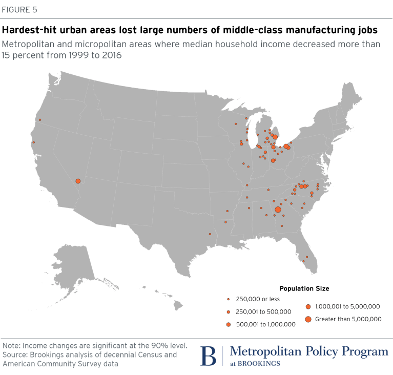 Map: hardest-hit urban areas lost large numbers of middle-class manufacturing jobs