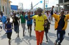 Protesters chant slogans while demonstrating against last weekend's explosion in KM4 street in the Hodan district in Mogadishu, Somalia October 18, 2017. REUTERS/Feisal Omar - RC1A7515A8D0