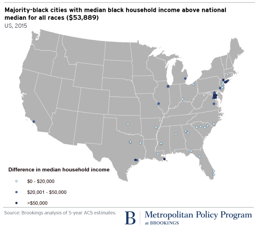 Map: Majority-black cities with median black household income above national median for all races ($53,889)