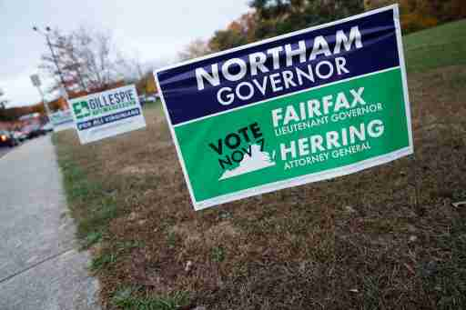 Campaign signs for Ed Gillespie and Ralph Northam are seen on Election Day at Washington Mill Elementary School in Alexandria, Virginia, U.S., November 7, 2017. REUTERS/Aaron P. Bernstein - RC15716CB9C0
