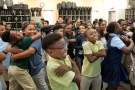 B.K. Bruce Elementary School fourth graders take a stretch break during music class after the the school was closed for two weeks in the aftermath of tropical storm Harvey in Houston, Texas, U.S. September 12, 2017.  The school reopened on Monday, September, 11, 2017. REUTERS/Chris Aluka Berry - RC18E1D35000