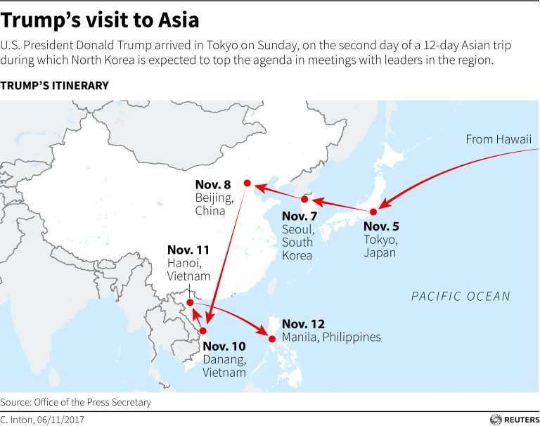 Map showing Trumps stops on his Asia trip.