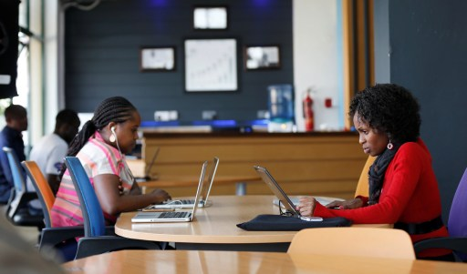 Entrepreneurs work on their projects at Nailab, a Kenyan firm that supports technology startups in Nairobi