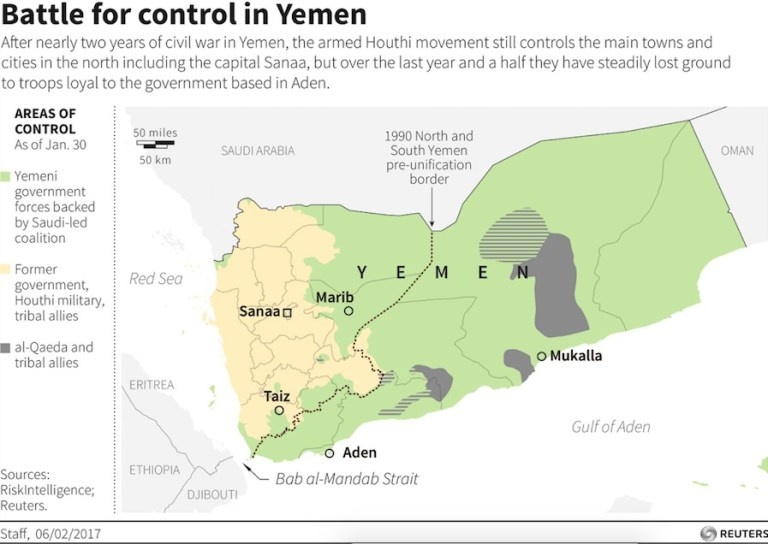 Map of the battle for control in Yeman.