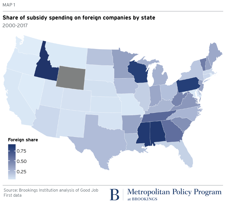 Map: Share of subsidy on foreign companies by state