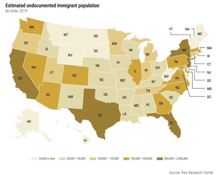 Estimated undocumented immigrant population by state 2014.