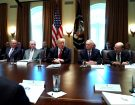 U.S. President Donald Trump, flanked by Interior Secretary Ryan Zinke, Secretary of State Rex Tillerson, Defense Secretary James Mattis and Commerce Secretary Wilbur Ross, holds a cabinet meeting at the White House in Washington, D.C.