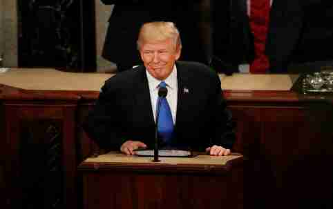 U.S. President Donald Trump pauses as he delivers his State of the Union address to a joint session of the U.S. Congress on Capitol Hill in Washington, U.S. January 30, 2018. REUTERS/Leah Millis     TPX IMAGES OF THE DAY - RC1B9BCC0D80