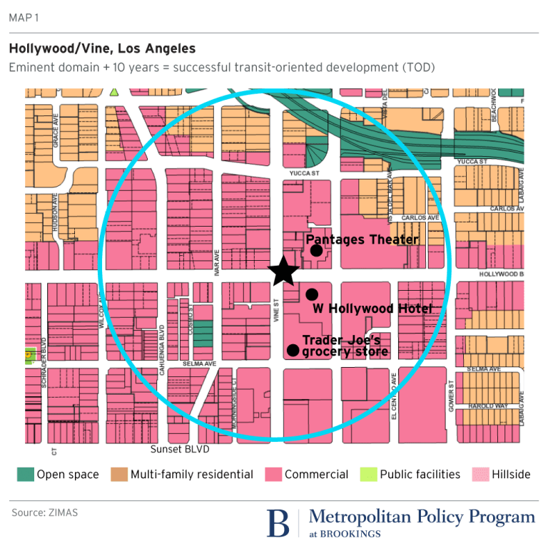 Map: Hollywood (LA): eminent domain and 10 years = successful TOD development