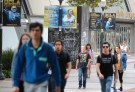 UCLA students walk outside the Pauley Pavilion basketball court.