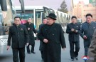 North Korean leader Kim Jong Un inspects a newly established Pyongyang trackless trolley factory in this undated photo released by North Korea's Korean Central News Agency (KCNA) in Pyongyang on February 1, 2018.