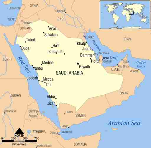 Map of Saudi Arabia.