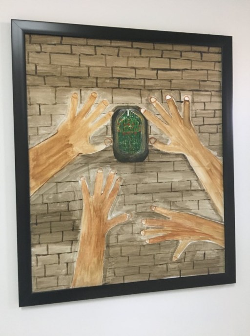 "A painting made in art therapy by a ""beneficiary"" of the Mohamed bin Nayef Center for Counseling and Care (also known as the jihadi rehab center). The center is structured much like an addiction treatment facility, but the ""illness"" they treat is one that they describe as ""intellectual deviation"" into religious beliefs that justify terrorism. The program begins after prisoners complete their jail sentence, and works to reintegrate them into their families and communities.The 3,000 or so prisoners who have been through this program almost certainly saw gentler treatment than other jihadi prisoners, some of whom, human rights groups say, were tortured to elicit confessions."