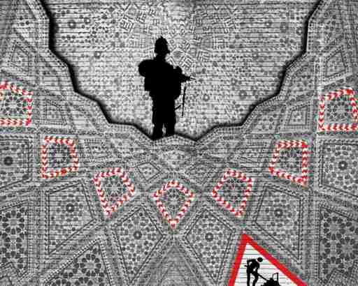 """One of Gharem's pieces, called """"Men at Work."""" The image is constructed from thousands of tiny rubber stamps bearing letters of the Arabic and Latin alphabets. Gharem told NPR that """"that stamp is the symbol of bureaucracy, yeah. When you have a baby, you should stamp that you have the baby. When you go into marriage you should have stamps. Even if you need a vacation you need that kind of stamp. So I think that's what's killing the dreams of the youth here."""" Gharem uses the stamp letters to spell out hidden messages, and paints images over the entire structure of stamps by hand."""