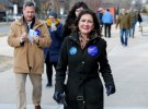 Illinois' 3rd Congressional District candidate for Congress, Marie Newman, arrives to vote in the Democratic Party's congressional primary election at the Lyons Township in La Grange, Illinois, U.S. March 20, 2018. REUTERS/Kamil Krzaczynski - RC1B57676BA0