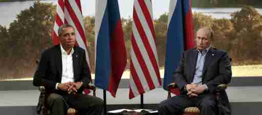 U.S. President Barack Obama (L) meets with Russian President Vladimir Putin during the G8 Summit at Lough Erne in Enniskillen, Northern Ireland June 17, 2013. REUTERS/Kevin Lamarque (NORTHERN IRELAND - Tags: POLITICS TPX IMAGES OF THE DAY) - GM1E96I0ARP01