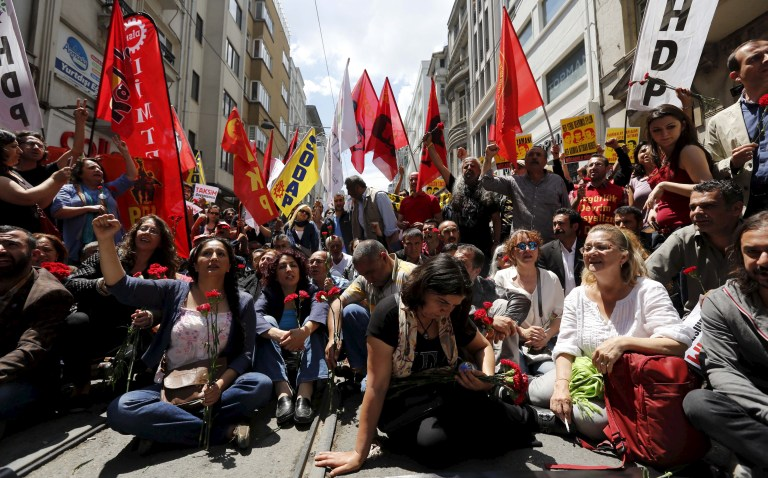 Demonstrators block Istiklal street during a protest in central Istanbul