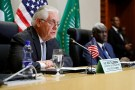 U.S. Secretary of State Rex Tillerson (L) speaks during a news conference with African Union (AU) Commission Chairman Moussa Faki (R), of Chad, after their meeting at AU headquarters in Addis Ababa, Ethiopia March 8, 2018. REUTERS/Jonathan Ernst - RC1A4C48DBB0