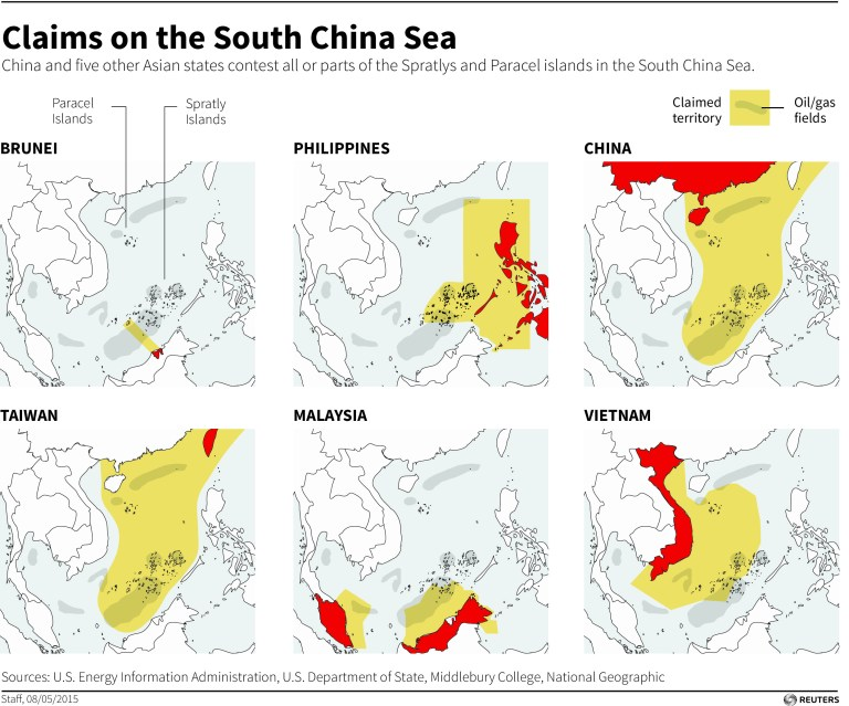 A map of countries claiming territory in the South China Sea.