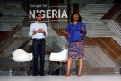 Google's CEO Sundar Pichai (L) and country manager for Nigeria Juliet Ehimuan speak during a conference tagged 'Google for Nigeria' in Nigeria's commercial capital Lagos, July 27, 2017. REUTERS/Akintunde Akinleye - RC193A6B3190