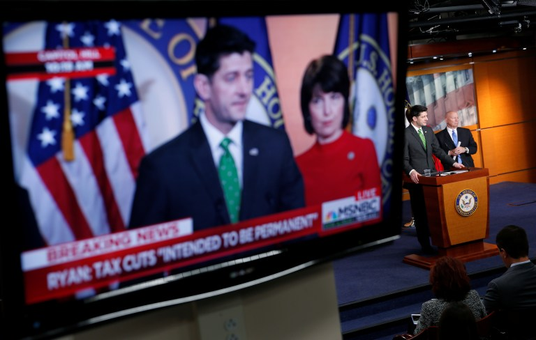 Speaker of the House Paul Ryan (R-WI) is shown speaking on a monitor about tax cuts during a media briefing on Capitol Hill in Washington, U.S., April 17, 2018.