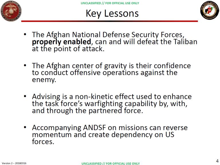 """""""Key Lessons"""" slide from Afghanistan presentation"""