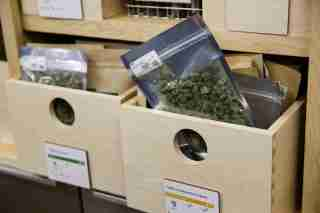 Marijuana is seen for sale at Harborside, one of California's largest and oldest dispensaries of medical marijuana, on the first day of legalized recreational marijuana sales in Oakland, California, U.S., January 1, 2018. REUTERS/Elijah Nouvelage - RC14812827E0
