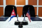 A view of the U.S. and Cuban flags prior to the signing of agreements between the Port of Cleveland and the Cuban Maritime authorities in Havana, Cuba, October 6, 2017. REUTERS/Alexandre Meneghini - RC1FB54A0A00